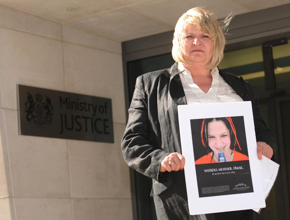 Sylvia Lancaster mother of Sophie Lancaster who was murdered because she dressed like a Goth, outside the Ministry of Justice in London after she met with Justice Secretary Jack Straw.