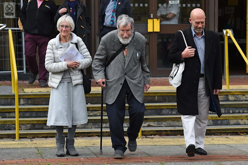Ursula Pethick, 83, left, John Alexander Lynes, 91, centre, and John Halladay, 61, leave Folkestone Magistrates Court in Kent, (PA)