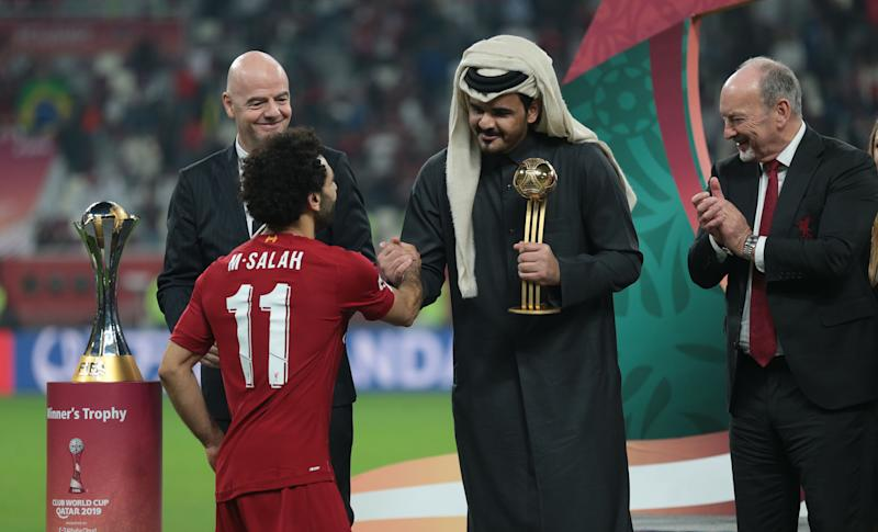 Sheikh Joaan bin Hamad bin Khalifa Al-Thani (center) and Qatar hosted the 2019 FIFA Club World Cup, which Liverpool won last month. (Photo by Mohammed Dabbous/Anadolu Agency via Getty Images)