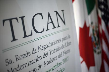 A NAFTA banner is seen during the fifth round of NAFTA talks involving the United States, Mexico and Canada in Mexico City, Mexico, November 18, 2017. REUTERS/Edgard Garrido