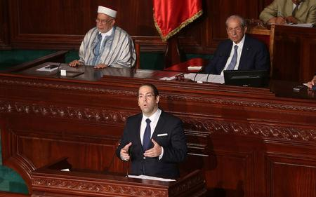 Tunisia's Prime Minister  Youssef Chahed speaks at the Assembly of People's Representatives in Tunis, Tunisia July 20, 2017. REUTERS/Zoubeir Souissi/Files
