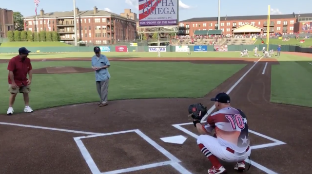WWII vet Frank Anderson throws out the first pitch on July 4th. (Memphis Redbirds)
