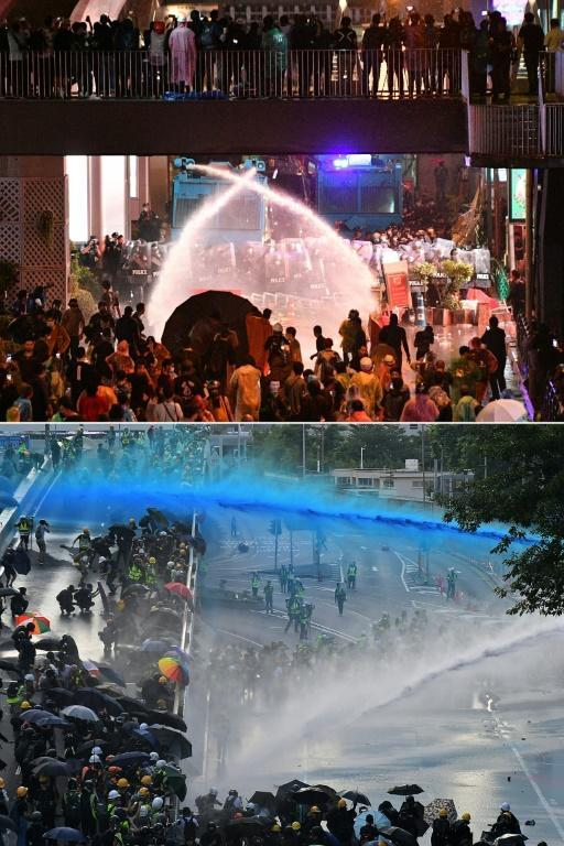 Police using water cannon to disperse protesters in Bangkok compared to similar scenes in Hong Kong
