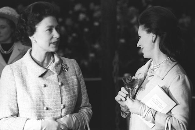 Queen Elizabeth II and Princess Margaret at the Chelsea Flower Show. (Getty Images)