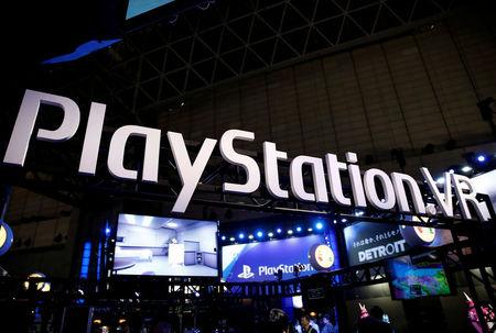 FILE PHOTO: The logo of Sony PlayStation VR is seen at Tokyo Game Show 2017 in Chiba, east of Tokyo, Japan, September 21, 2017.  REUTERS/Kim Kyung-Hoon/File Photo