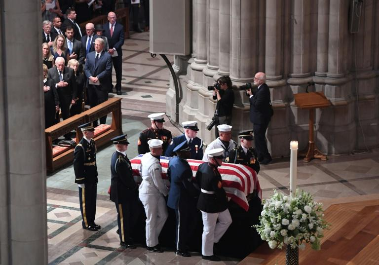 As millions tuned in to the nationally televised memorial attended by almost all of Washington's past and present powerbrokers, Donald Trump himself was absent -- heading to one of his golf courses as eulogies to John McCain were being delivered