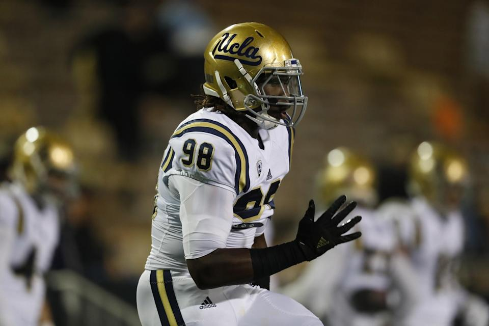 Will a shoulder injury keep UCLA's Takkarist McKinley out of Round 1? (AP)
