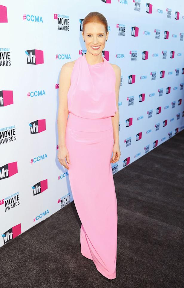 """<a href=""""http://movies.yahoo.com/movie/contributor/1809669328"""">Jessica Chastain</a> at the 17th Annual Critics' Choice Awards in Hollywood on January 12, 2012."""