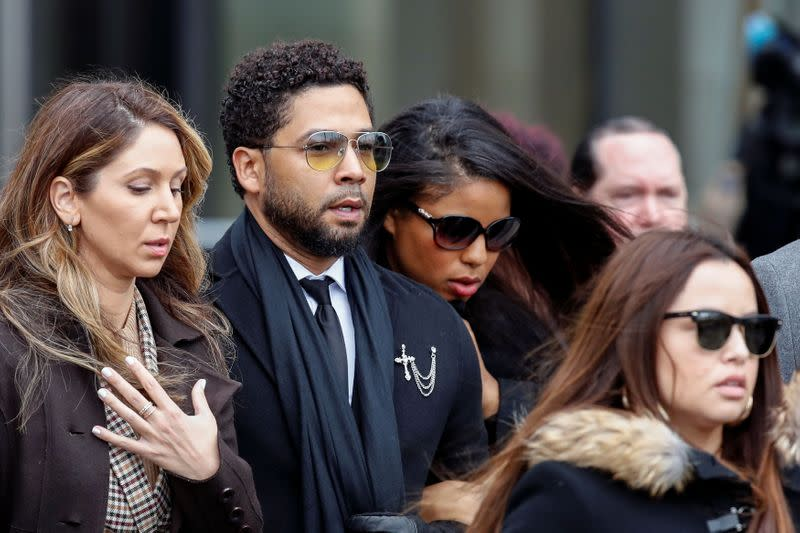 "Former ""Empire"" actor Jussie Smollett leaves court after his arraignment in Chicago"