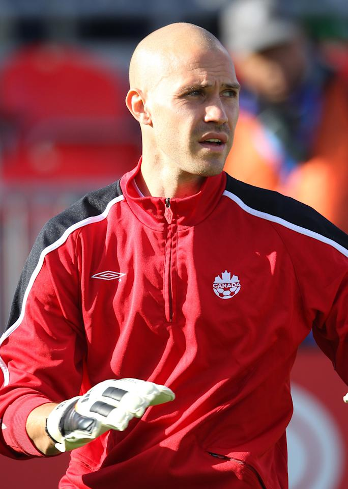 TORONTO, CANADA - JUNE 3: Lars Hirschfeld #1 of Canada warms up before playing against USA during their international friendly match on June 3, 2012 at BMO Field in Toronto, Ontario, Canada. (Photo by Tom Szczerbowski/Getty Images)