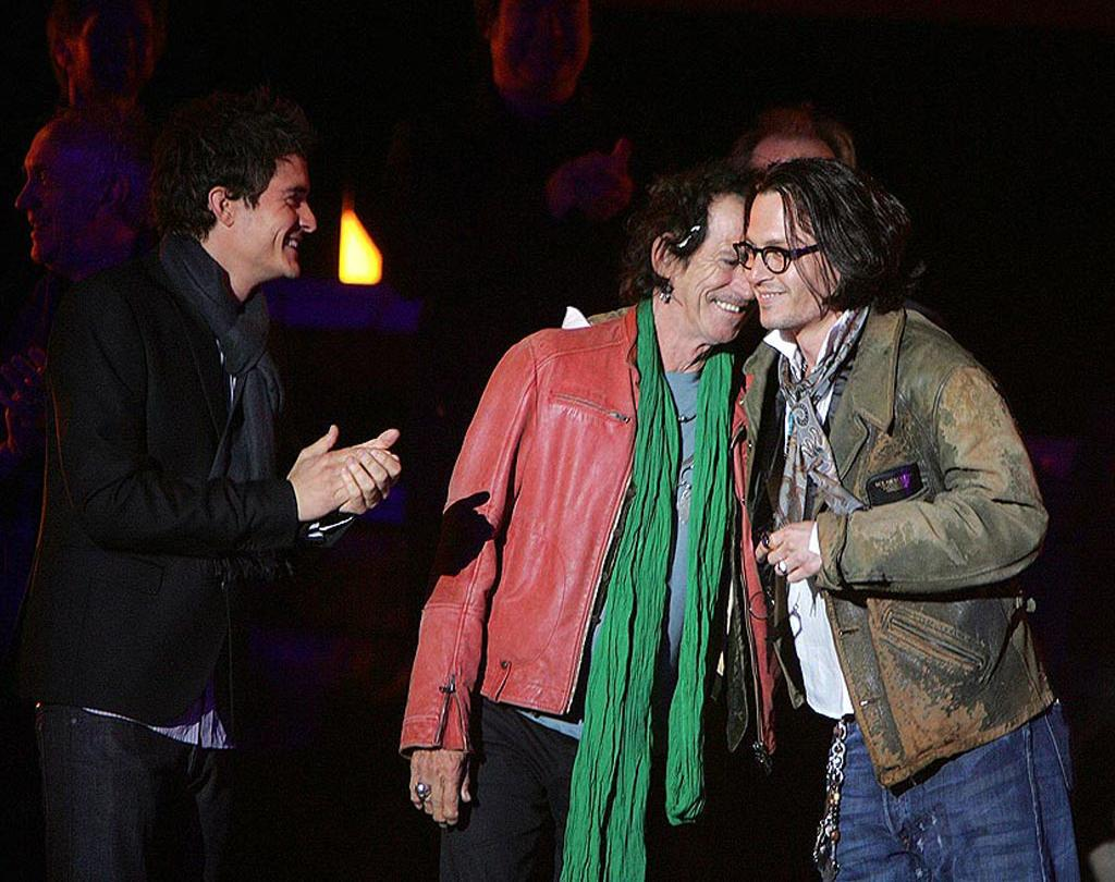 """Orlando Bloom, Keith Richards, and Johnny Depp share a laugh. Eric Charbonneau/<a href=""""http://www.wireimage.com"""" target=""""new"""">WireImage.com</a> - May 19, 2007"""
