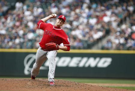 Jul 4, 2018; Seattle, WA, USA; Los Angeles Angels pitcher Garrett Richards (43) delivers in the fourth inning against the Seattle Mariners at Safeco Field. Mandatory Credit: Lindsey Wasson-USA TODAY Sports