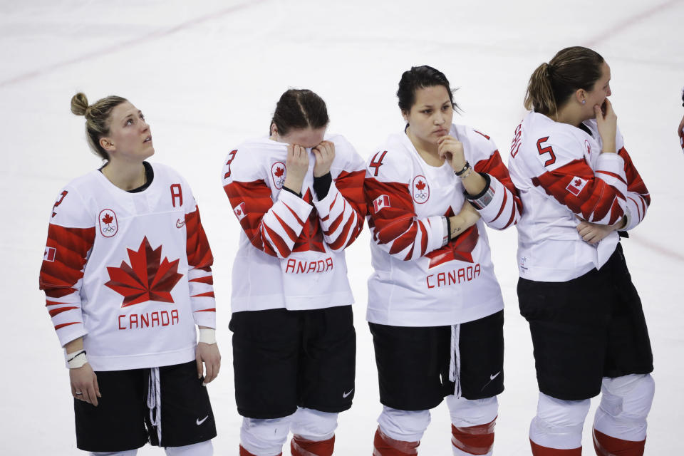 <p>Members of team Canada react after losing to the United States in the women's gold medal hockey game at the 2018 Winter Olympics in Gangneung, South Korea, Thursday, Feb. 22, 2018. (AP Photo/Matt Slocum) </p>