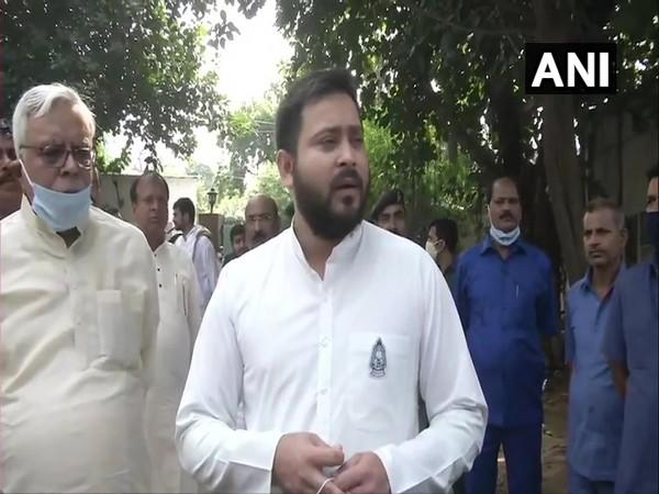 RJD leader Tejashwi Yadav speaking to media on Wednesday. (Photo/ANI)