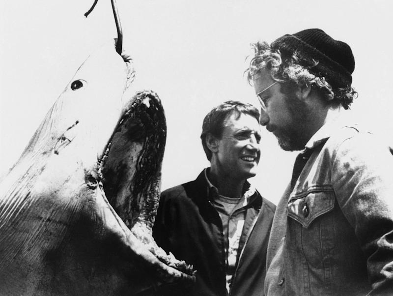 "Roy Scheider, left, and Richard Dreyfuss are shown in a scene from the movie ""Jaws,"" 1975. (AP Photo)"