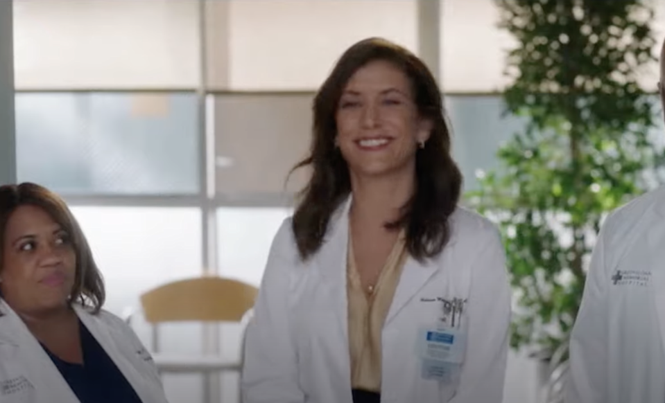 A smiling Kate as Dr. Montgomery, with Chandra Wilson as Dr. Miranda Bailey looking at her