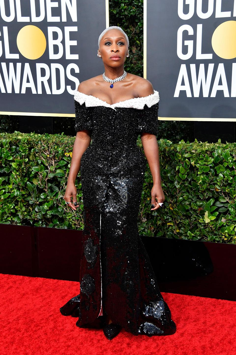 """<h2>2020</h2><br>Though we're sad that red carpets are on permanent pause, at least we got to see Cynthia Erivo in this black-and-white custom Thom Browne gown at the 2020 Golden Globes first. <span class=""""copyright"""">Photo: Frazer Harrison/Getty Images.</span>"""