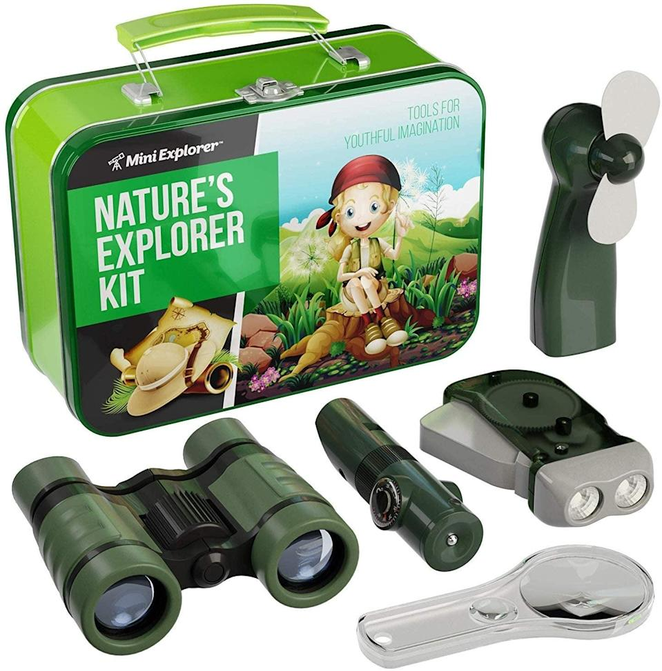 """<p>An evening in the great outdoors is the perfect way to explore the sights and sounds of nature you can find right in your own backyard. The <a href=""""https://www.popsugar.com/buy/Mini-Explorer-Kit-Kids-574569?p_name=Mini%20Explorer%20Kit%20For%20Kids&retailer=amazon.com&pid=574569&price=25&evar1=moms%3Aus&evar9=47479532&evar98=https%3A%2F%2Fwww.popsugar.com%2Fphoto-gallery%2F47479532%2Fimage%2F47479546%2FMini-Explorer-Kit-For-Kids&list1=camping%2Ckid%20activities%2Ckid%20shopping%2Cparent%20shopping%2Cstaying%20home&prop13=api&pdata=1"""" class=""""link rapid-noclick-resp"""" rel=""""nofollow noopener"""" target=""""_blank"""" data-ylk=""""slk:Mini Explorer Kit For Kids"""">Mini Explorer Kit For Kids</a> ($25) comes with binoculars, a magnifying glass, flashlight, a fan, and a multitool for investigating birds, bugs, stars, and more.</p>"""