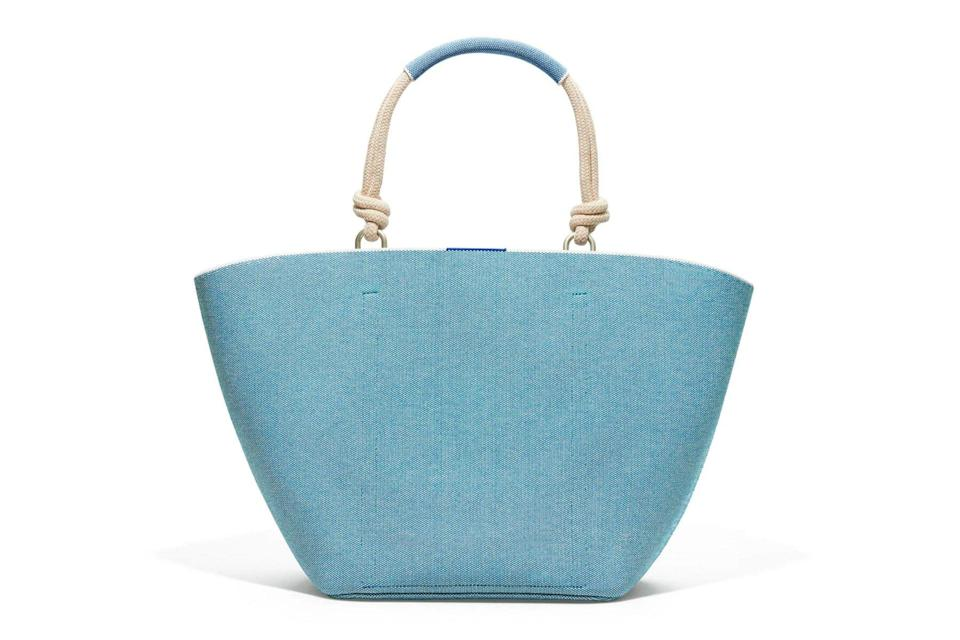 Blue knit tote