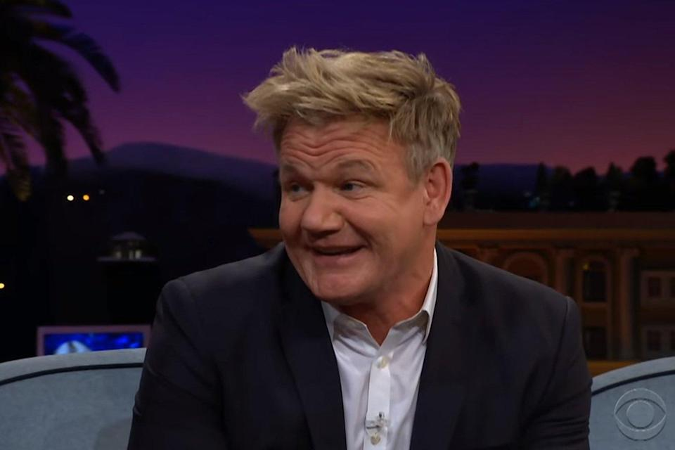 Not happy: Gordon Ramsay took Piers Morgan to task over his anti-vegan remarks (CBS / Late Late Show / YouTube)