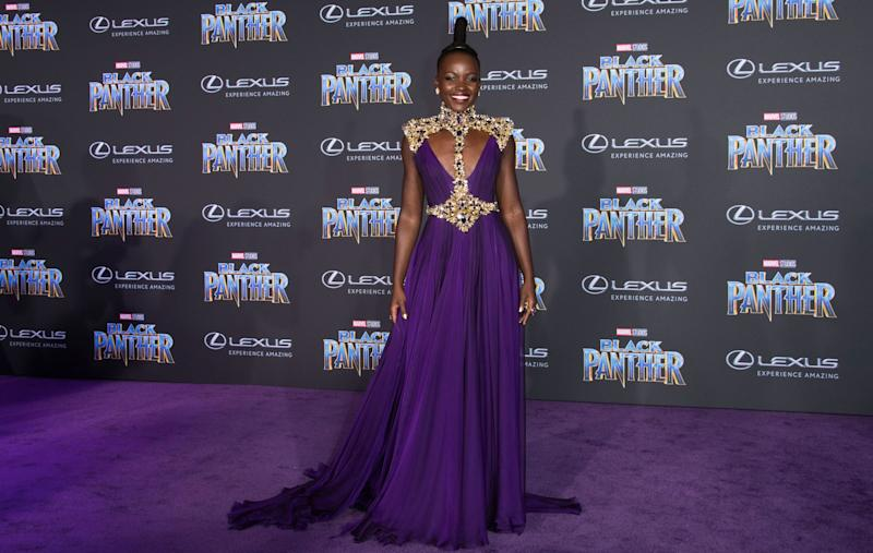 Who: Lupita Nyong'o What: Atelier Versace Where: At the Black Panther premiere, Los Angeles When: January 29, 2018