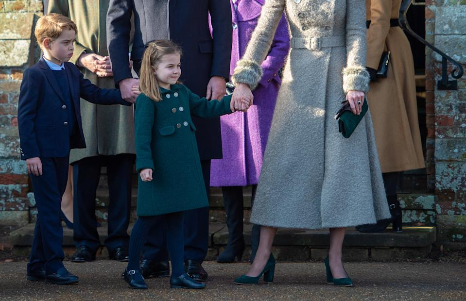 Prince George and Princess Charlotte after attending the Christmas Day morning church service at St Mary Magdalene Church in Sandringham, Norfolk.