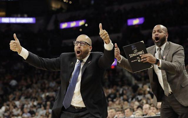 David Fizdale reacts to another rooking from the referees. (AP)