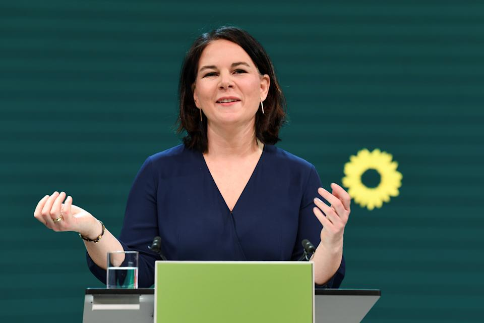 A co-leader of Germany's Green party Annalena Baerbock gives a speech during digital announcement event where the party is expected to present the proposal that the top duo will go into the federal election campaign and the announcement of candidacy for chancellor at the malt factory in Berlin, Germany, April 19, 2021.  REUTERS/Annegret Hilse/Pool