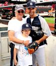 <p>Richard Gere makes a trip to the ballpark in 2009 extra special for his son, Homer, by introducing him to New York Yankee Jorge Posada after the game. </p>