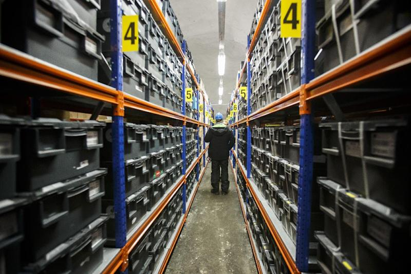 """FILE - This is a March 2. 2016 file photo of the interior of the Svalbard Global Seed Vault, the secure seed bank on Svalbard, Norway. Nearly 10 years after a """"doomsday"""" seed vault opened on an Arctic island off Norway, some 50,000 new samples from seed collections ranging from India, the Middle East, northern Africa and Europe to the U.S. and Mexico, have been deposited in the world's largest repository, built to safeguard against wars or natural disasters wiping out global food crops. (Heiko Junge/ NTB scanpix, File via AP)"""