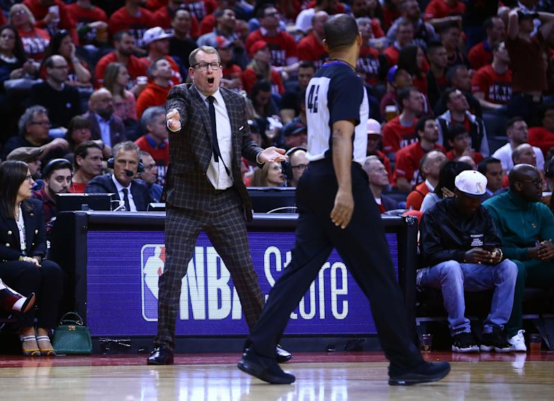 TORONTO, ON - APRIL 13: Head Coach Nick Nurse of the Toronto Raptors reacts during Game One of the first round of the 2019 NBA playoffs against the Orlando Magic at Scotiabank Arena on April 13, 2019 in Toronto, Canada. NOTE TO USER: User expressly acknowledges and agrees that, by downloading and or using this photograph, User is consenting to the terms and conditions of the Getty Images License Agreement. (Photo by Vaughn Ridley/Getty Images)