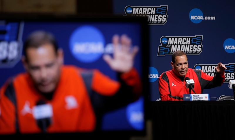 Houston head coach Kelvin Sampson speaks during a news conference at the NCAA men's college basketball tournament, Saturday, March 23, 2019, in Tulsa, Okla. Houston plays Ohio State on Sunday. (AP Photo/Jeff Roberson)