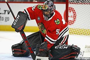 It was a short but sweet night in the NHL, and Daniel E. Dobish says Corey Crawford was doing his best to make his fantasy owners smile