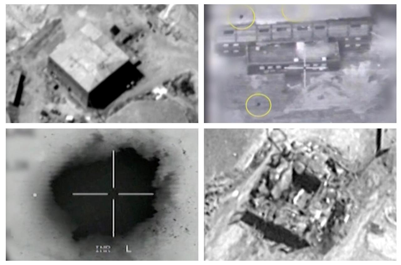 A combination image shows screen grabs taken from video material released on March 21, 2018 which the Israeli military describes as an Israeli air strike on a suspected Syrian nuclear reactor site near Deir al-Zor on Sept 6, 2007.   Top row: The site before the attack (L), yellow circles depicting bombs during the air strike on the site (R). Bottom row: An explosion during the air strike on the site (L), debris seen on the site after the attack (R).   IDF/Handout via Reuters TV  ATTENTION EDITORS - THIS IMAGE HAS BEEN SUPPLIED BY A THIRD PARTY. NO RESALES. NO ARCHIVES. REUTERS IS UNABLE TO IMMEDIATELY VERIFY THE AUTHENTICITY OF THIS IMAGE. FOR REUTERS CUSTOMERS ONLY. THIS IMAGE HAS BEEN PROCESSED TO ENHANCE QUALITY.    TPX IMAGES OF THE DAY.