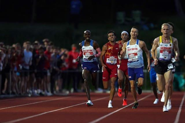 Mo Farah, left, could only finish eighth in Birmingham