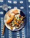 """<p>Roasted salmon offers up plenty of good-for-you fats, which pair perfectly with grilled eggplant. </p><p><em><a href=""""https://www.goodhousekeeping.com/food-recipes/healthy/a28612561/salmon-with-grilled-eggplant-and-chickpea-croutons/"""" rel=""""nofollow noopener"""" target=""""_blank"""" data-ylk=""""slk:Get the recipe for Salmon with Grilled Eggplant and Chickpea Croutons »"""" class=""""link rapid-noclick-resp"""">Get the recipe for Salmon with Grilled Eggplant and Chickpea Croutons »</a></em></p>"""