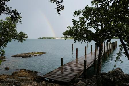 FILE PHOTO: A rainbow appears before the arrival of Hurricane Dorian in Marsh Harbour