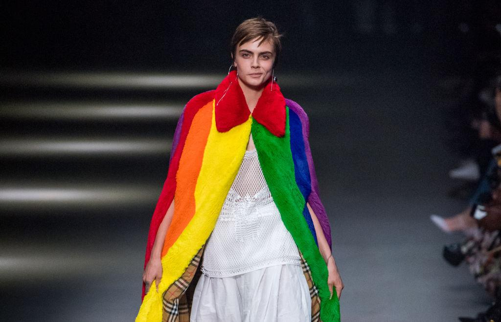 <p>This season, Christopher Bailey gave his final bow with an LGBTQ-inspired show which saw models take to the runway in technicolour puffer jackets and faux fur capes. <em>[Photo: Getty]</em> </p>
