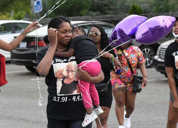 PHOTO: Loved ones gather for a memorial for Jaida Peterson, April 9, 2021, at Tuckaseegee Park in Charlotte, N.C. Peterson, a transgender woman, was found dead in a hotel room on Easter Sunday, April 4. (David T. Foster III/The Charlotte Observer via AP)