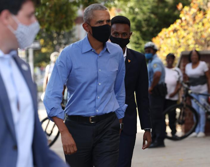 Former President Barack Obama campaigns for Democratic nominee and former Vice President Joseph Biden at a community event on Oct. 21, 2020 in Philadelphia.