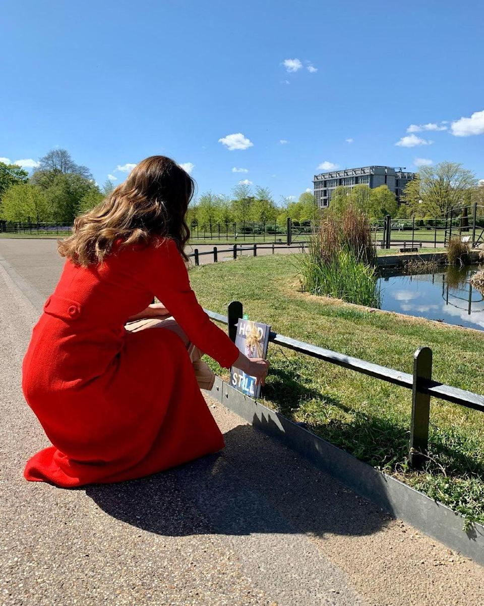 The Duchess of Cambridge hides a copy of her book outside Kensington Palace