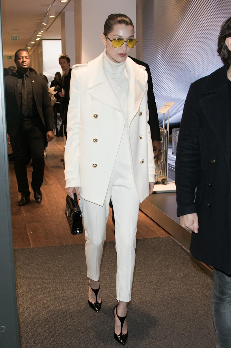 Bella Hadid leaves the 'RIMOWA' boutique in Rue du Faubourg Saint Honore on March 6, 2017 in Paris, France.