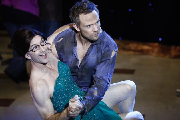 """History 101"" Episode 401 -- Pictured:  Jim Rash as Dean Pelton and Joel McHale as Jeff"