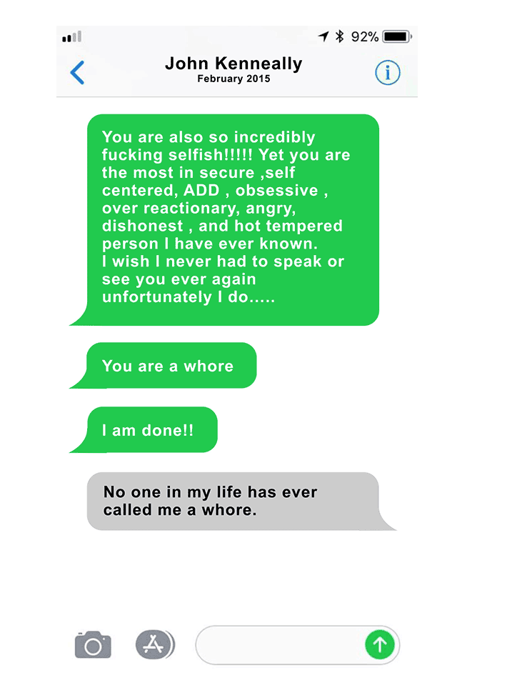 A text exchange between Page Zeringue and her boss, John Kenneally. He sent her a string of messages like this throughout their relationship. (HuffPost)