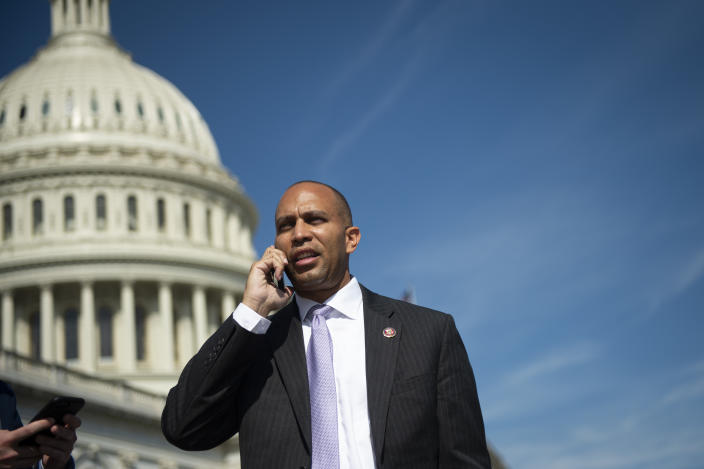 Democratic Caucus Chair Hakeem Jeffries, D-N.Y., talks on the phone after his flight gets cancelled as he departs after the last votes of the week on Capitol Hill on Friday, Sept. 27, 2019. (Caroline Brehman/CQ-Roll Call, Inc via Getty Images)