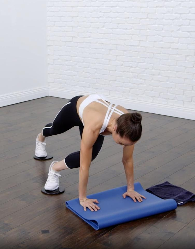 <ul> <li>Start in a plank position with sliders or towels under your feet.</li> <li>Bend and slide your right knee into your chest and hold for one to two seconds; slide the leg across your body, as shown.</li> <li>Do eight to 12 reps before switching legs.</li> </ul>