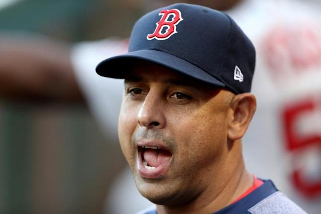Boston Red Sox manager Alex Cora, seen here on August, 31, 2019, is parting ways with the club amid Major League Baseball's investigation into illegal sign-stealing (AFP Photo/Sean M. Haffey)
