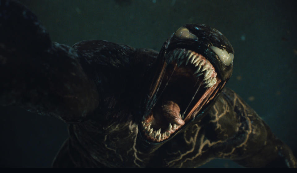 """This image released by Sony Pictures Entertainment shows a scene from """"Venom: Let There Be Carnage."""" (Sony Pictures Entertainment via AP)"""
