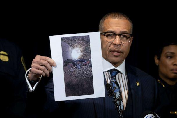 PHOTO: Detroit Police Chief James Craig shows a photograph of an 'assault-type weapon' used by the suspect as he speaks to the media at Detroit Public Safety Headquarters, Nov. 21, 2019. (David Guralnick/Detroit News via AP)