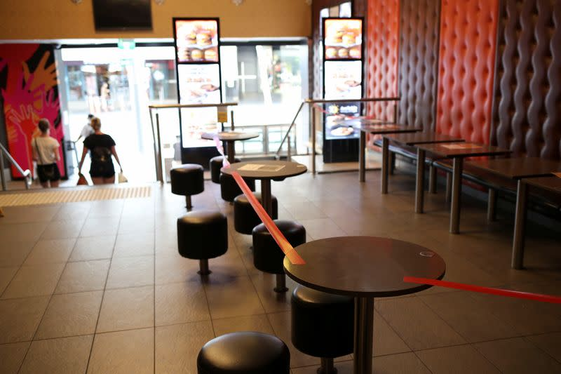 A closed McDonald's dining is seen following the implementation of stricter social-distancing and self-isolation rules to limit the spread of the coronavirus disease (COVID-19) in Sydney
